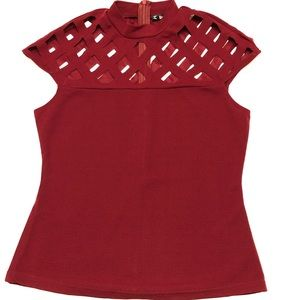 Shein burgundy zipper tops with diamond holes.